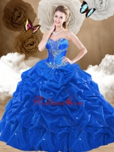 2016 Simple Brush Train Sweetheart Quinceanera Dresses with Pick Ups SJQDDT475002-2FOR