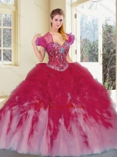 2016 Simple Multi Color Quinceanera Dresses with Beading and Ruffles SJQDDT390002-1FOR