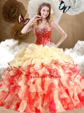 2016 Simple Multi Color Sweet 16 Dresses with Beading and Ruffles SJQDDT487002-1FOR
