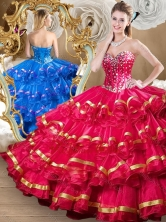 2016 Simple Red Sweet 16 Dresses with Beading and Ruffled Layers SJQDDT489002-1FOR