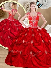 2016 Simple Red Sweet 16 Gowns with Appliques and Pick Ups QDDTR1002-2FOR