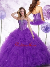 2016 Simple Strapless Purple Quinceanera Gowns with Beading and Ruffles SJQDDT445002FOR
