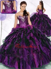 2016 Simple Sweetheart Multi Color Quinceanera Gowns with Ruffles and Sequins SJQDDT468002FOR