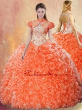 2016 Simple Sweetheart Orange Red Quinceanera Gowns with Beading SJQDDT432002FOR