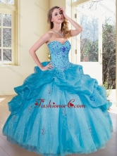 2016 Simple Sweetheart Pick Ups and Appliques Quinceanera Gowns SJQDDT360002FOR