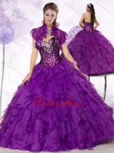 2016 Simple Sweetheart Ruffles and Sequins Quinceanera Dresses in Purple SJQDDT462002FOR