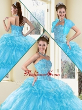2016 Sweet Ball Gown Sweet 16 Dresses with Beading and Ruffled Layers in Aqua Blue QDDTD38002AFOR