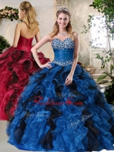 2016 Top Selling Ball Gown Multi Color Sweet 16 Dresses with Beading and Ruffles QDDTO1002-3FOR