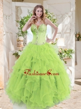 A-line Beaded and Ruffed Quinceanera Gown in Spring Green SJQDDT712002FOR