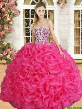 Affordable Hot Pink Sweet 16 Dress with Beading and Ruffles YSQD010-2FOR