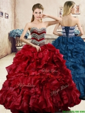Affordable Wine Red Quinceanera Dress with Beading and Ruffles YYPJ056FOR