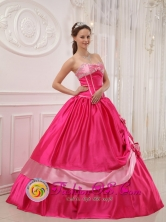 Algeciras Colombia WholesaleSweet 16 A-line Coral Red Bows Dress Sweetheart Satin Appliques with glistening Beading  Style QDZY424FOR