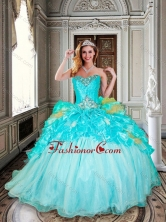 Beautiful Ball Gown Aqua Blue Sweet 16 Dress with Beading and Ruffles XFQD1020FOR