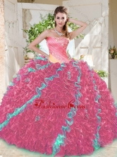 Beautiful Beaded Pleated and Ruffled Big Puffy Quinceanera Dress in Rainbow SJQDDT700002FOR