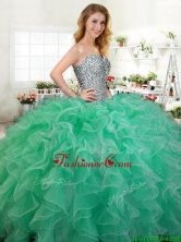 Beautiful Beaded and Ruffled Quinceanera Dress in Green for Spring YYPJ065-1FOR