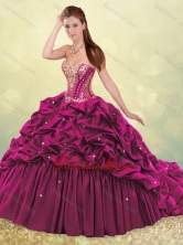 Beautiful Brush Train Quinceanera Dress with Beading and Bubbles SJQDDT502002FOR