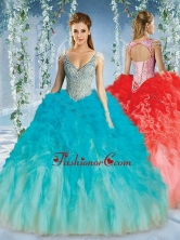 Beautiful Deep V Neck Big Puffy Quinceanera Gown with Beaded Decorated Cap SleevesSJQDDT589002FOR