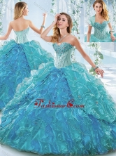 Beautiful Organza Blue Detachable Quinceanera Dress with Ruffles and Beading SJQDDT544002FOR