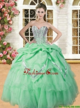 Beautiful Spring Green Sweet 16 Dress with Beading and Pick Ups YSQD009-1FOR