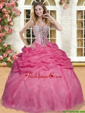 Best Selling Coral Red Sweet 16 Dress with Beading and Pick Ups YSQD006-1FOR