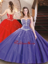 Best Selling Tulle Beaded Sweet 16 Dress in Purple for 2016 XFQD1043FOR