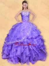 Big Puffy Applique Eggplant Purple Quinceanera Dress in Organza XFQD1026FOR