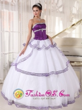 Calamar Colombia Wholesale Custom Made strapless White and Purple Organza Quinceanera Dress With Appliques and Layers  Style PDZY442FOR