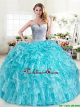 Cheap Aqua Blue Sweet 16 Dress with Beading and Ruffles YYPJ045-1FOR