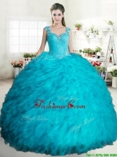 Cheap Beaded and Ruffled Turquoise Quinceanera Dress in Tulle YYPJ060-1FOR