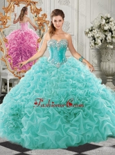 Classical Big Puffy Beaded and Ruffled Sweet 16 Gown in Organza SJQDDT521002FOR