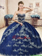Classical Navy Blue Organza Sweet 16 Dress with Beading and Appliques YYPJ049-1FOR
