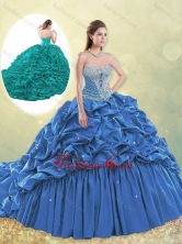 Classical Taffeta Blue Quinceanera Dress with Beading and Bubbles SJQDDT494002FOR