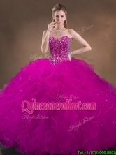 Custom Made Beaded and Ruffled Quinceanera Gowns in Hot Pink SWQD050MT-4FOR