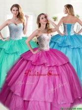Discount Big Puffy Quinceanera Dress with Beading and Ruffled Layers YYPJ032FOR