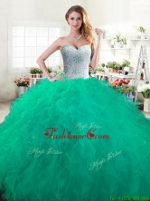 Discount Green Sweet 16 Dress with Beading and Ruffles for Spring YYPJ062-2FOR