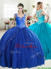 Discount Straps Royal Blue Quinceanera Dress with Beading and Appliques YYPJ058FOR