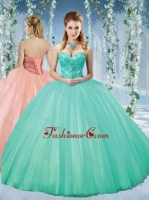 Discount Taffeta Beaded Puffy Skirt Quinceanera Gown in TurquoiseSJQDDT581002FOR