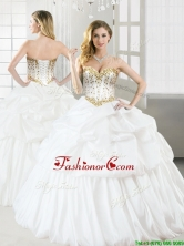 Discount Taffeta White Quinceanera Dress with Beading and Pick Ups YYPJ048FOR