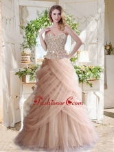 Elegant A Line Champagne Quinceanera Dress with Beading and Ruffles SJQDDT715002FOR