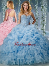 Elegant Brush Train Big Puffy Quinceanera Dress with Beading and RufflesSJQDDT593002FOR