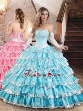 Elegant Organza Quinceanera Dress with Beading and Ruffled Layers XFQD1035FOR