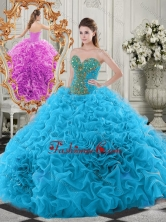 Exclusive Beaded Bodice and Ruffled   Sweetheart Quinceanera Dress in Baby   Blue SJQDDT519002FOR