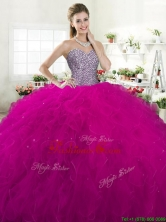 Exclusive Beaded Bodice and Ruffled Tulle Quinceanera Dress in Fuchsia YYPJ063FOR