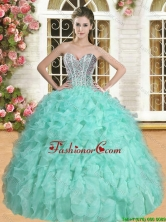 Exclusive Beaded and Ruffled Quinceanera Dress in Apple Green YSQD007-1FOR
