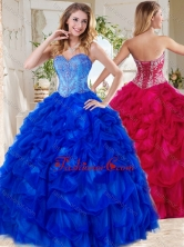 Exclusive Blue Big Puffy Quinceanera Gown with Beading and Pick Ups SJQDDT735002FOR
