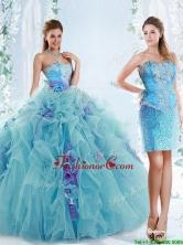 Exquisite Applique Bodice Aqua Blue Detachable Quinceanera Gowns in Organza QDDTP2002AFOR
