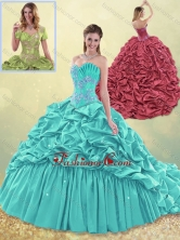 Exquisite Brush Train Taffeta Quinceanera Dress in Aqua Blue SJQDDT498002FOR