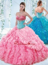 Exquisite Rose Pink Detachable Quinceanera Gown with Beading and Ruffles SJQDDT542002-1FOR