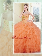 Fashionable Ball Gown Orange Red Quinceanera Gowns with Ruffles SJQDDT365002FOR