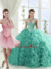 Fashionable Brush Train Detachable Quinceanera Dresses with Beading and Rolling FlowerSJQDDT553002FOR